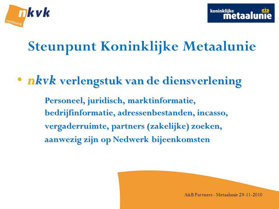 A&B Partners - Metaalunie 29-11-2010 Steunpunt Koninklijke Metaalunie •nkvk verlengstuk van de diensverlening Personeel, juridisch, marktinformatie, bedrijfinformatie, adressenbestanden, incasso, vergaderruimte, partners (zakelijke) zoeken, aanwezig zijn op Nedwerk bijeenkomsten