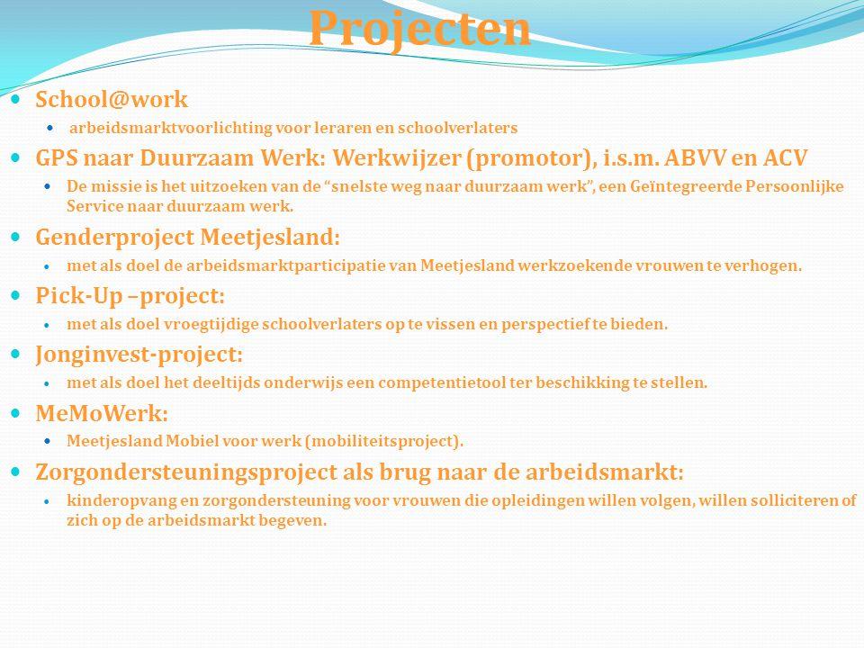 Projecten  School@work  arbeidsmarktvoorlichting voor leraren en schoolverlaters  GPS naar Duurzaam Werk: Werkwijzer (promotor), i.s.m. ABVV en ACV