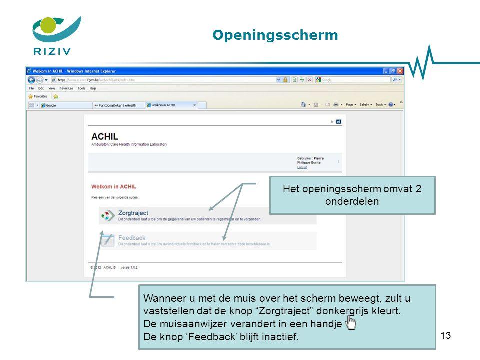 Openingsscherm Toelichting: Het WIV zal na het verwerken van de resultaten (mei 2013), een individuele & anonieme feedback per arts produceren.