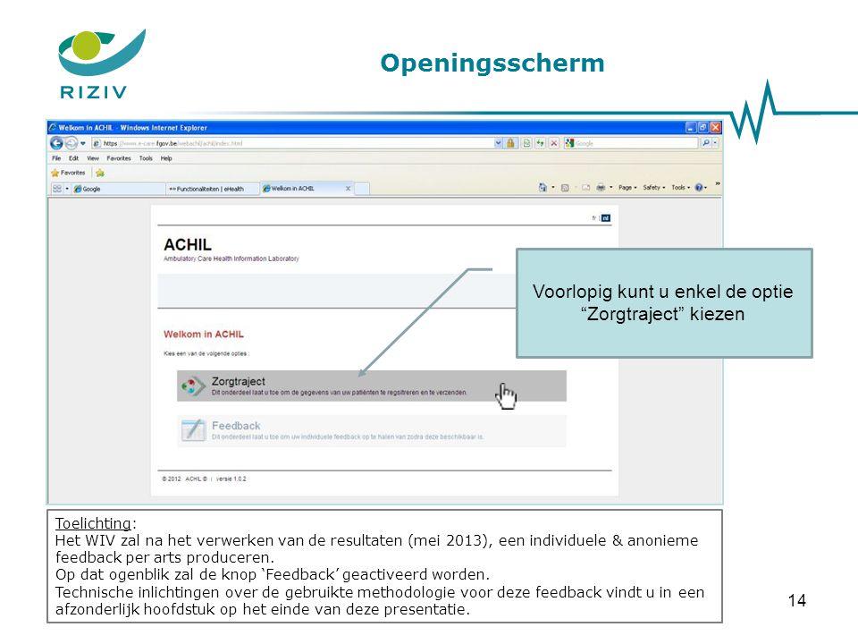 Openingsscherm Toelichting: Het WIV zal na het verwerken van de resultaten (mei 2013), een individuele & anonieme feedback per arts produceren. Op dat