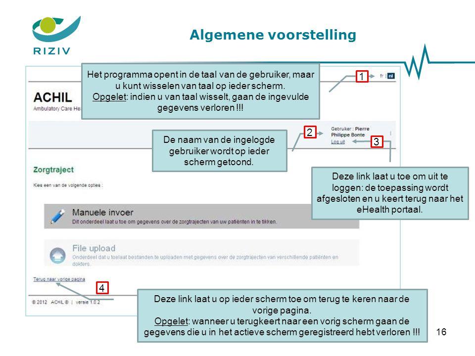 Manuele invoer – Scherm 1 Kies een kring door een postcode in te tikken 1 Toelichting: Er zijn in België 10 gemeenten waar geen erkende kring actief is.