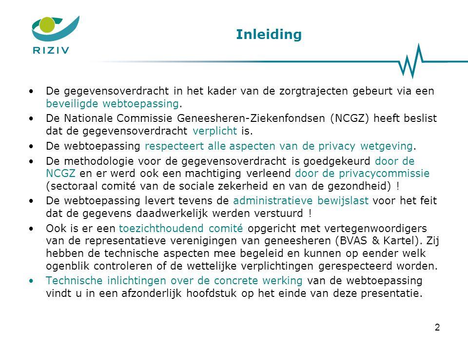 Inleiding •De gegevensoverdracht in het kader van de zorgtrajecten gebeurt via een beveiligde webtoepassing. •De Nationale Commissie Geneesheren-Zieke