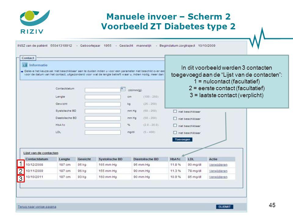 """Manuele invoer – Scherm 2 Voorbeeld ZT Diabetes type 2 In dit voorbeeld werden 3 contacten toegevoegd aan de """"Lijst van de contacten"""": 1 = nulcontact"""