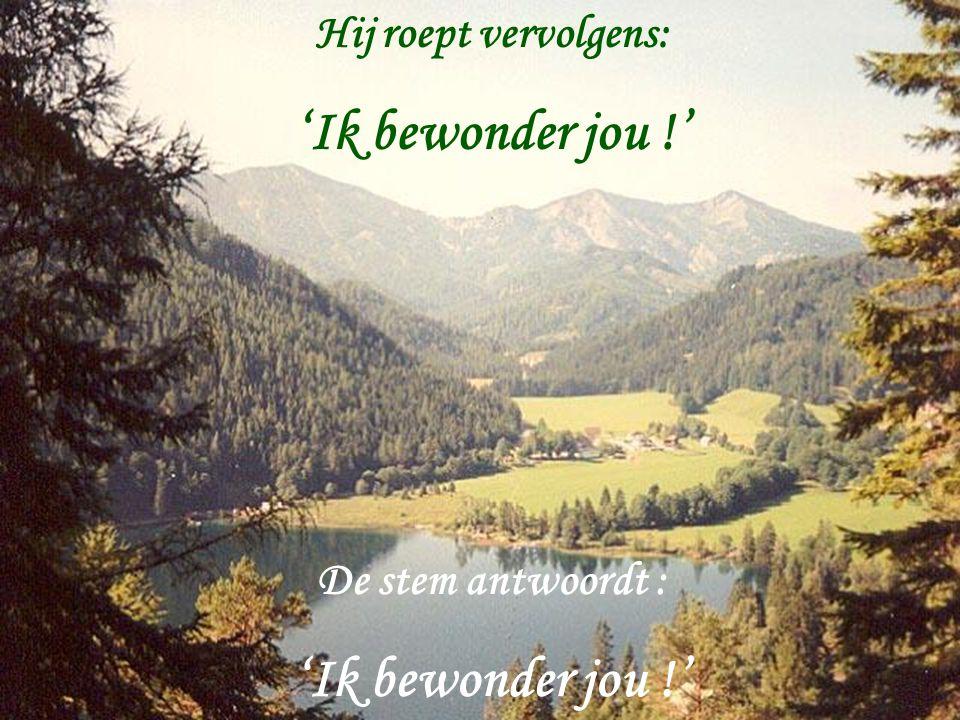 Hij roept vervolgens: 'Ik bewonder jou !' De stem antwoordt : 'Ik bewonder jou !'