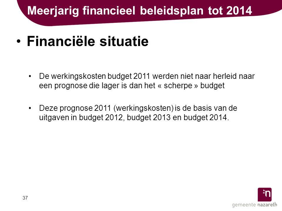 Meerjarig financieel beleidsplan tot 2014 •Financiële situatie •De werkingskosten budget 2011 werden niet naar herleid naar een prognose die lager is dan het « scherpe » budget •Deze prognose 2011 (werkingskosten) is de basis van de uitgaven in budget 2012, budget 2013 en budget 2014.