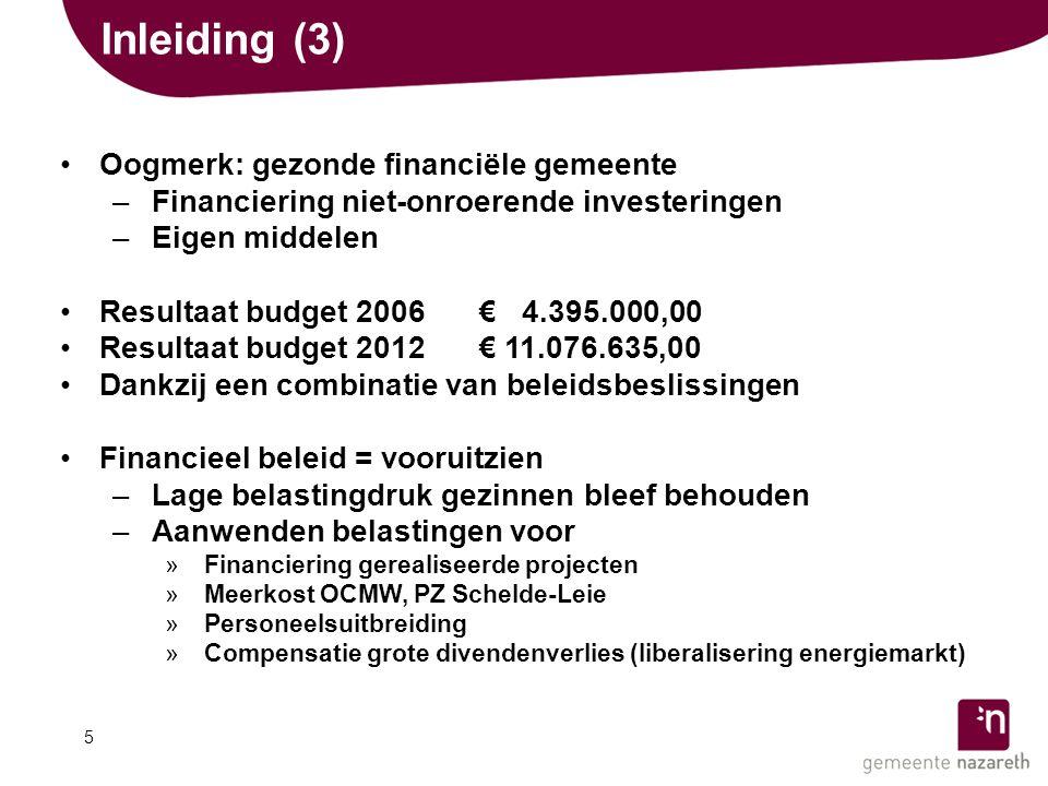 Inleiding (3) •Oogmerk: gezonde financiële gemeente –Financiering niet-onroerende investeringen –Eigen middelen •Resultaat budget 2006€ 04.395.000,00 •Resultaat budget 2012€ 11.076.635,00 •Dankzij een combinatie van beleidsbeslissingen •Financieel beleid = vooruitzien –Lage belastingdruk gezinnenbleef behouden –Aanwenden belastingen voor »Financiering gerealiseerde projecten »Meerkost OCMW, PZ Schelde-Leie »Personeelsuitbreiding »Compensatie grote divendenverlies (liberalisering energiemarkt) 5