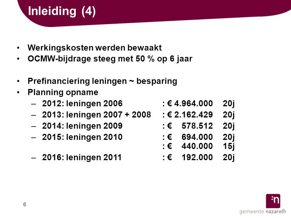 Inleiding (4) •Werkingskosten werden bewaakt •OCMW-bijdrage steeg met 50 % op 6 jaar •Prefinanciering leningen ~ besparing •Planning opname –2012: leningen 2006: € 4.964.000 20j –2013: leningen 2007 + 2008: € 2.162.429 20j –2014: leningen 2009: € 0.578.512 20j –2015: leningen 2010: € 0.694.000 20j : € 0.440.000 15j –2016: leningen 2011: € 0.192.000 20j 6