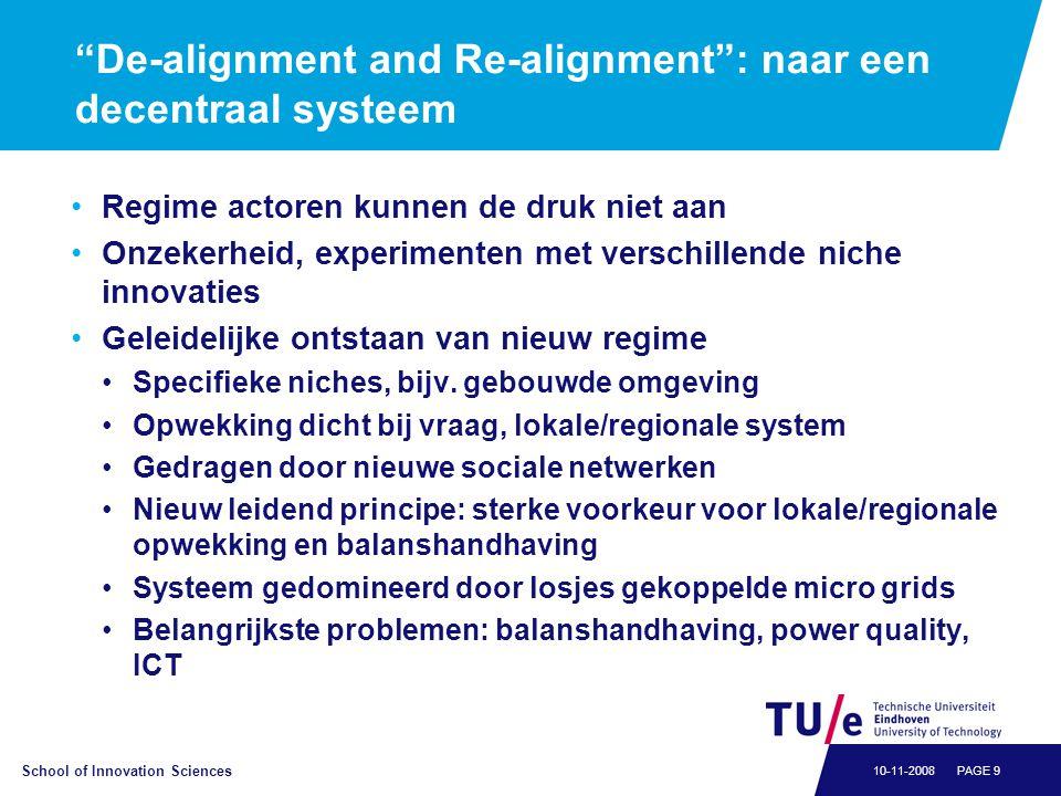 """School of Innovation Sciences PAGE 910-11-2008 """"De-alignment and Re-alignment"""": naar een decentraal systeem •Regime actoren kunnen de druk niet aan •O"""
