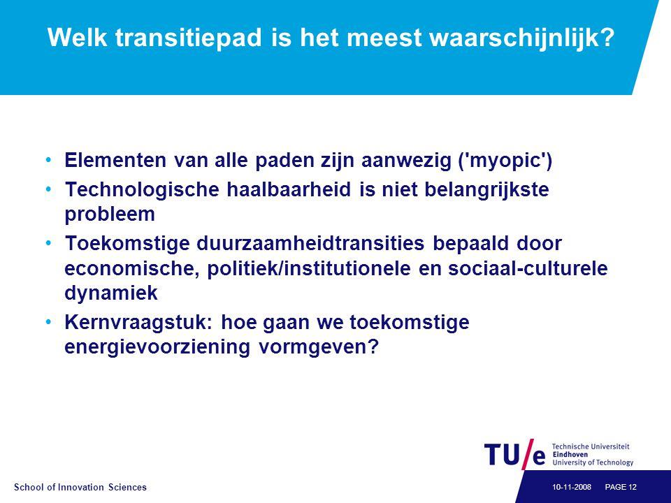 School of Innovation Sciences PAGE 1210-11-2008 Welk transitiepad is het meest waarschijnlijk.