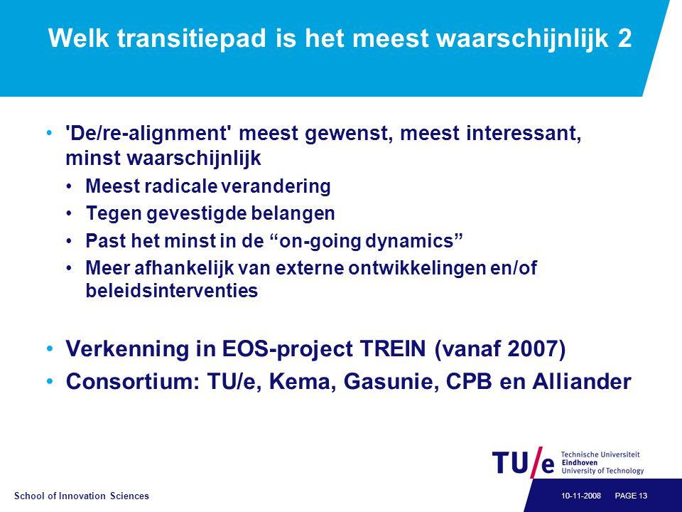 School of Innovation Sciences PAGE 1310-11-2008 Welk transitiepad is het meest waarschijnlijk 2 •'De/re-alignment' meest gewenst, meest interessant, m