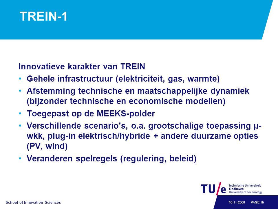 School of Innovation Sciences PAGE 1510-11-2008 TREIN-1 Innovatieve karakter van TREIN •Gehele infrastructuur (elektriciteit, gas, warmte) •Afstemming technische en maatschappelijke dynamiek (bijzonder technische en economische modellen) •Toegepast op de MEEKS-polder •Verschillende scenario's, o.a.