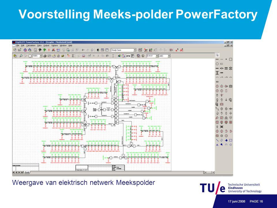 PAGE 1617 juni 2008 Voorstelling Meeks-polder PowerFactory Weergave van elektrisch netwerk Meekspolder