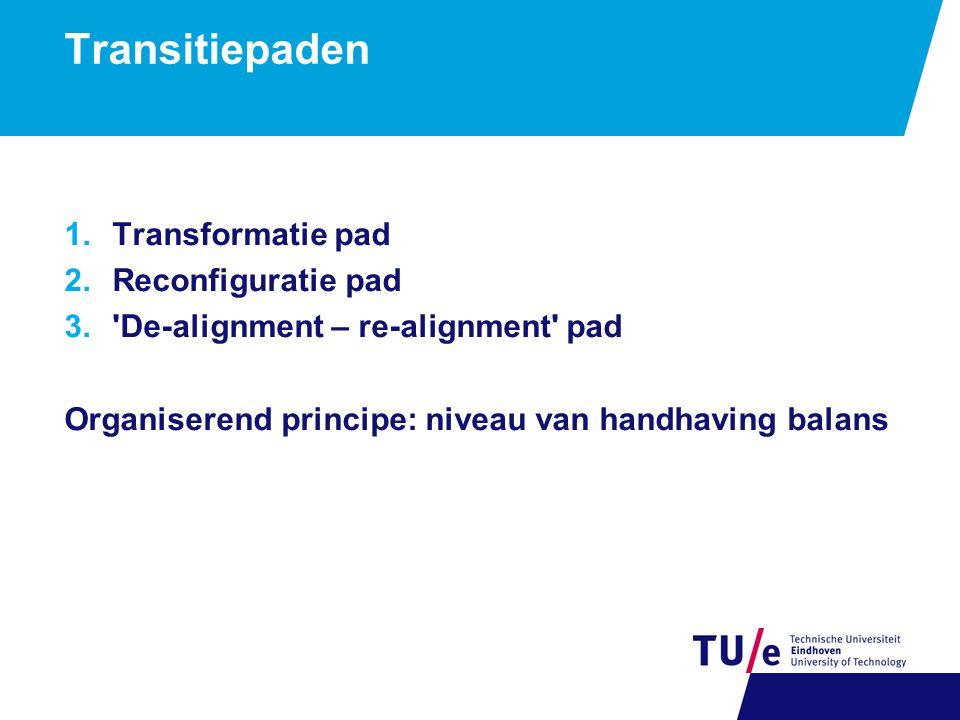 Transitiepaden 1.Transformatie pad 2.Reconfiguratie pad 3.'De-alignment – re-alignment' pad Organiserend principe: niveau van handhaving balans