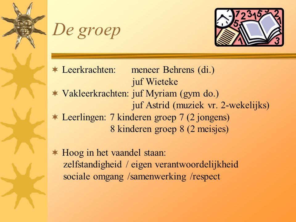 De groep  Leerkrachten: meneer Behrens (di.) juf Wieteke  Vakleerkrachten: juf Myriam (gym do.) juf Astrid (muziek vr. 2-wekelijks)  Leerlingen: 7
