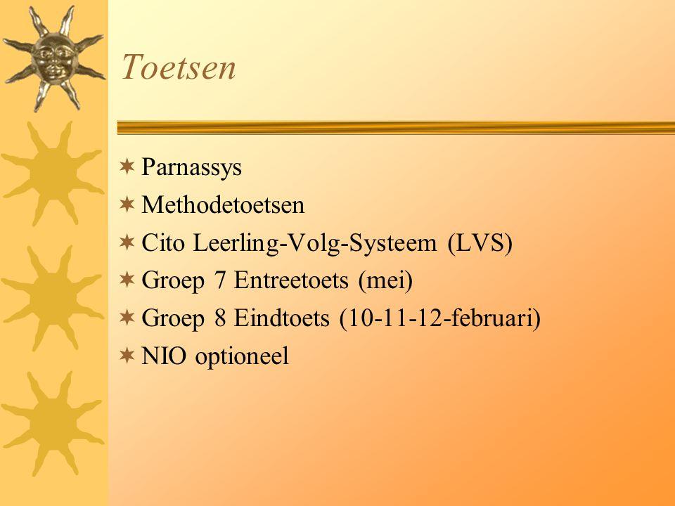 Toetsen  Parnassys  Methodetoetsen  Cito Leerling-Volg-Systeem (LVS)  Groep 7 Entreetoets (mei)  Groep 8 Eindtoets (10-11-12-februari)  NIO opti