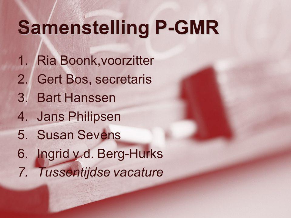 Samenstelling P-GMR 1.Ria Boonk,voorzitter 2.Gert Bos, secretaris 3.Bart Hanssen 4.Jans Philipsen 5.Susan Sevens 6.Ingrid v.d. Berg-Hurks 7.Tussentijd