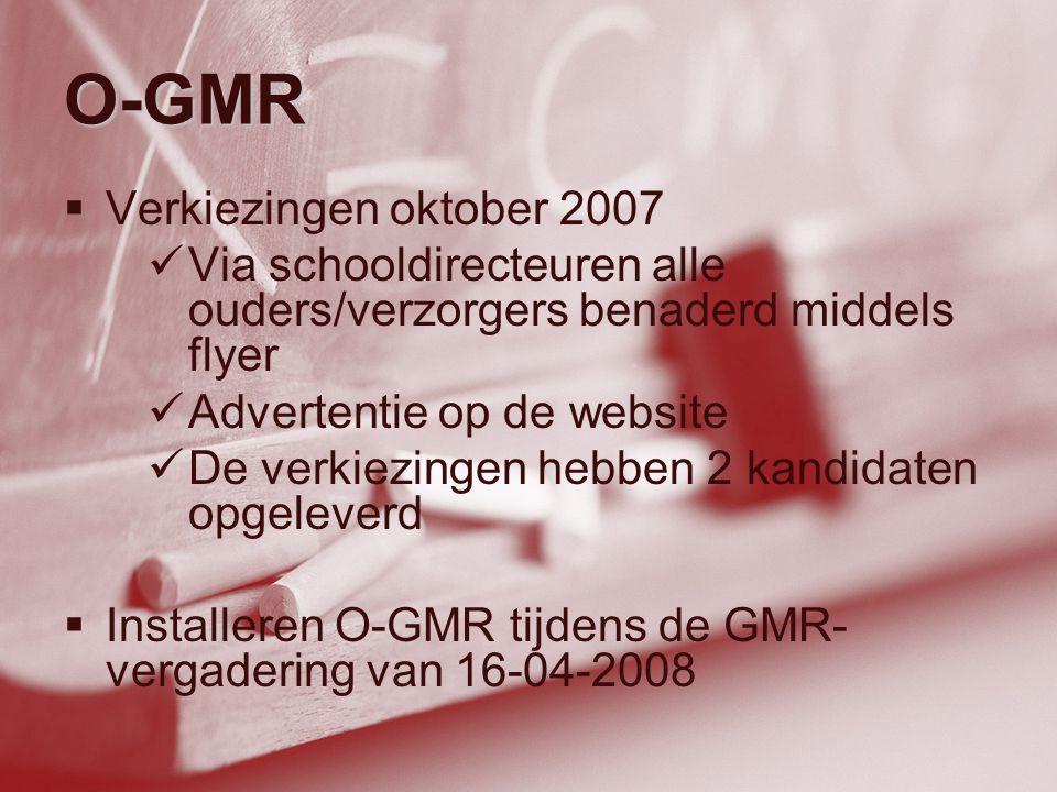 O-GMR  Verkiezingen oktober 2007  Via schooldirecteuren alle ouders/verzorgers benaderd middels flyer  Advertentie op de website  De verkiezingen