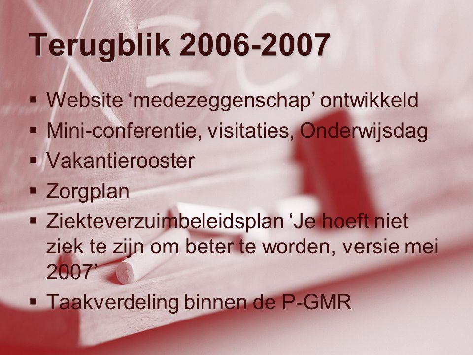 Terugblik 2006-2007  Website 'medezeggenschap' ontwikkeld  Mini-conferentie, visitaties, Onderwijsdag  Vakantierooster  Zorgplan  Ziekteverzuimbe