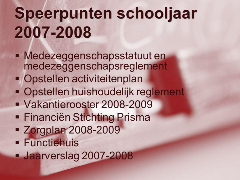 Speerpunten schooljaar 2007-2008  Medezeggenschapsstatuut en medezeggenschapsreglement  Opstellen activiteitenplan  Opstellen huishoudelijk regleme