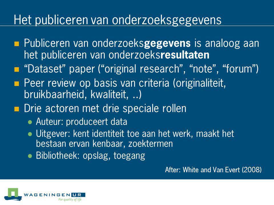 """Het publiceren van onderzoeksgegevens  Publiceren van onderzoeks gegevens is analoog aan het publiceren van onderzoeks resultaten  """"Dataset"""" paper ("""