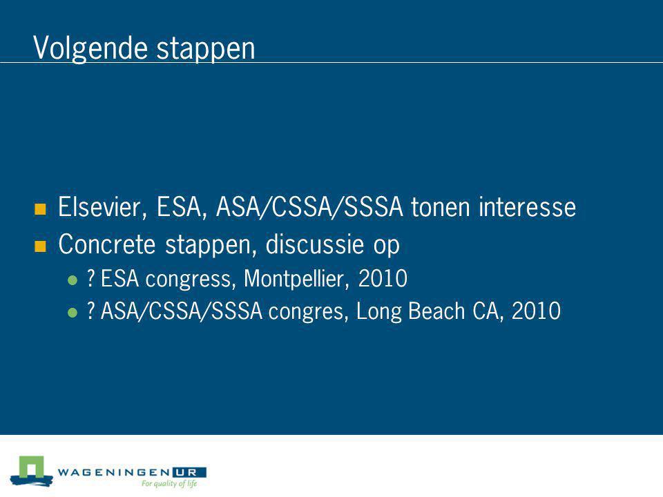 Volgende stappen  Elsevier, ESA, ASA/CSSA/SSSA tonen interesse  Concrete stappen, discussie op  ? ESA congress, Montpellier, 2010  ? ASA/CSSA/SSSA