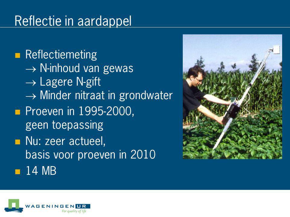 Reflectie in aardappel  Reflectiemeting → N-inhoud van gewas → Lagere N-gift → Minder nitraat in grondwater  Proeven in 1995-2000, geen toepassing 