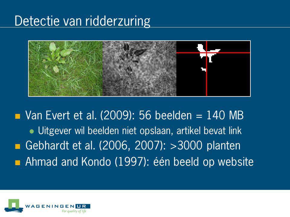 Detectie van ridderzuring  Van Evert et al. (2009): 56 beelden = 140 MB  Uitgever wil beelden niet opslaan, artikel bevat link  Gebhardt et al. (20