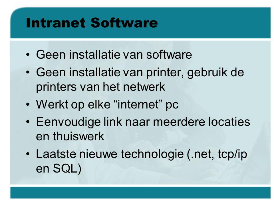 """Intranet Software •Geen installatie van software •Geen installatie van printer, gebruik de printers van het netwerk •Werkt op elke """"internet"""" pc •Eenv"""