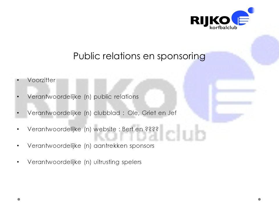 Public relations en sponsoring • Voorzitter • Verantwoordelijke (n) public relations • Verantwoordelijke (n) clubblad : Ole, Griet en Jef • Verantwoor