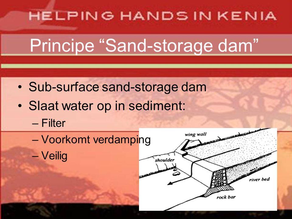 Principe Sand-storage dam •Sub-surface sand-storage dam •Slaat water op in sediment: –Filter –Voorkomt verdamping –Veilig