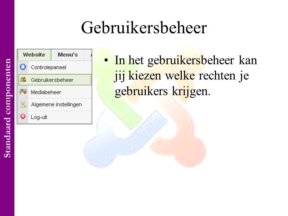 Gebruikersbeheer •In het gebruikersbeheer kan jij kiezen welke rechten je gebruikers krijgen.