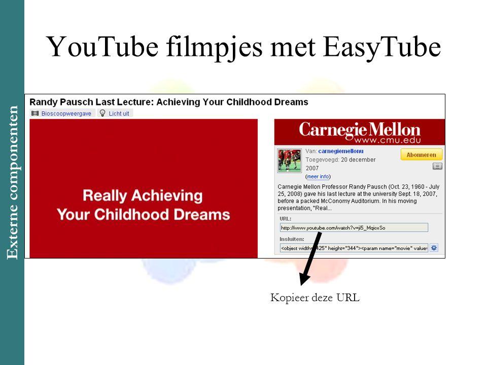 YouTube filmpjes met EasyTube Kopieer deze URL Externe componenten
