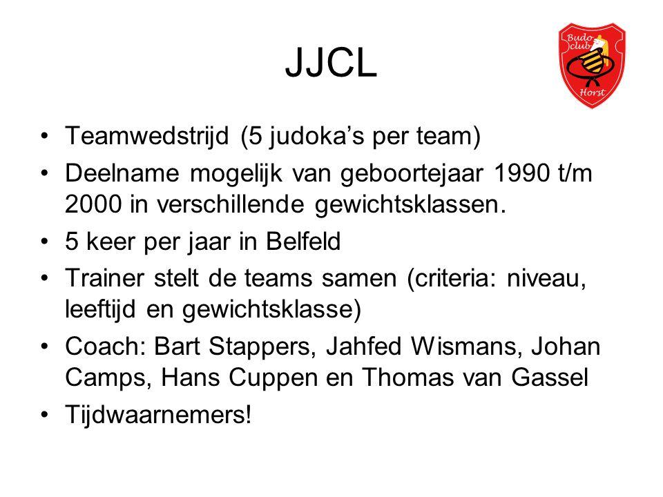 JJCL •Teamwedstrijd (5 judoka's per team) •Deelname mogelijk van geboortejaar 1990 t/m 2000 in verschillende gewichtsklassen. •5 keer per jaar in Belf