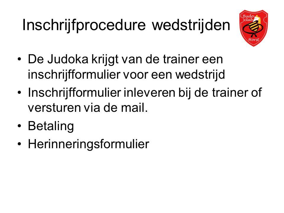 Inschrijfprocedure wedstrijden •De Judoka krijgt van de trainer een inschrijfformulier voor een wedstrijd •Inschrijfformulier inleveren bij de trainer of versturen via de mail.