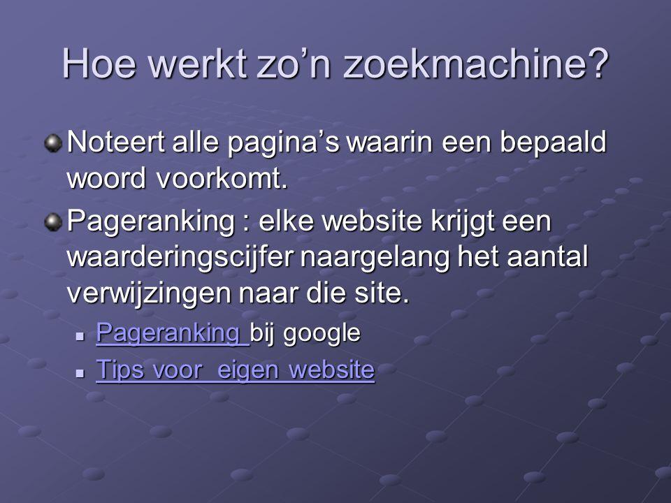 Hoe werkt zo'n zoekmachine.Noteert alle pagina's waarin een bepaald woord voorkomt.