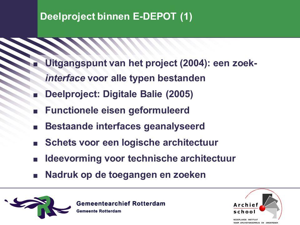 Deelproject binnen E-DEPOT (1). Uitgangspunt van het project (2004): een zoek- interface voor alle typen bestanden. Deelproject: Digitale Balie (2005)