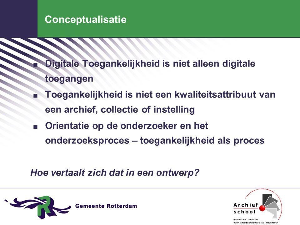 Conceptualisatie. Digitale Toegankelijkheid is niet alleen digitale toegangen. Toegankelijkheid is niet een kwaliteitsattribuut van een archief, colle