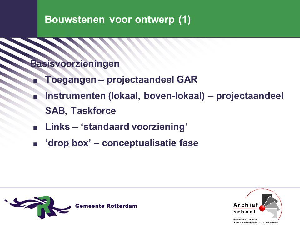 Bouwstenen voor ontwerp (1) Basisvoorzieningen. Toegangen – projectaandeel GAR. Instrumenten (lokaal, boven-lokaal) – projectaandeel SAB, Taskforce. L