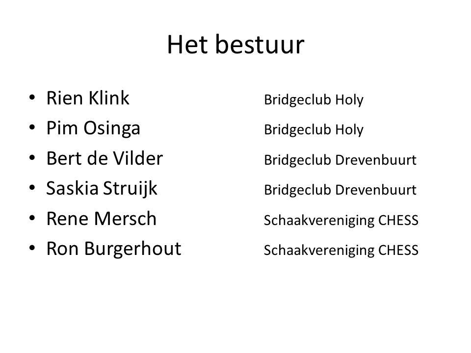 Het bestuur • Rien Klink Bridgeclub Holy • Pim Osinga Bridgeclub Holy • Bert de Vilder Bridgeclub Drevenbuurt • Saskia Struijk Bridgeclub Drevenbuurt • Rene Mersch Schaakvereniging CHESS • Ron Burgerhout Schaakvereniging CHESS