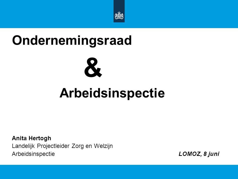 Ondernemingsraad & Arbeidsinspectie Anita Hertogh Landelijk Projectleider Zorg en Welzijn ArbeidsinspectieLOMOZ, 8 juni