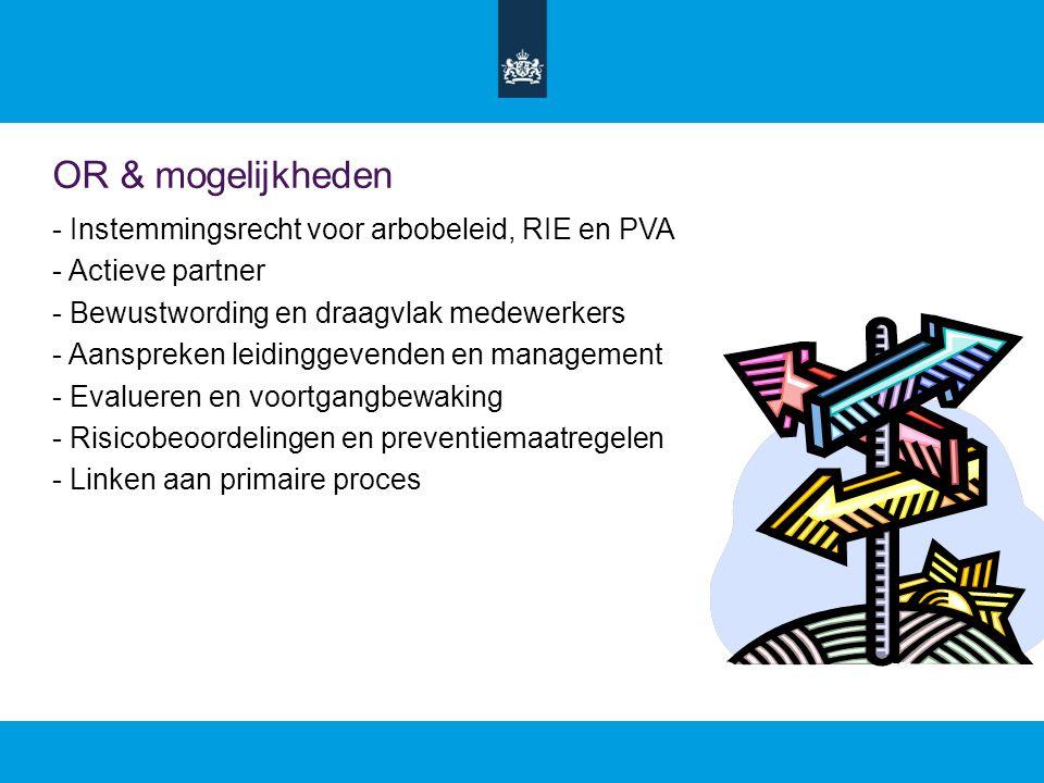 OR & mogelijkheden - Instemmingsrecht voor arbobeleid, RIE en PVA - Actieve partner - Bewustwording en draagvlak medewerkers - Aanspreken leidinggevenden en management - Evalueren en voortgangbewaking - Risicobeoordelingen en preventiemaatregelen - Linken aan primaire proces