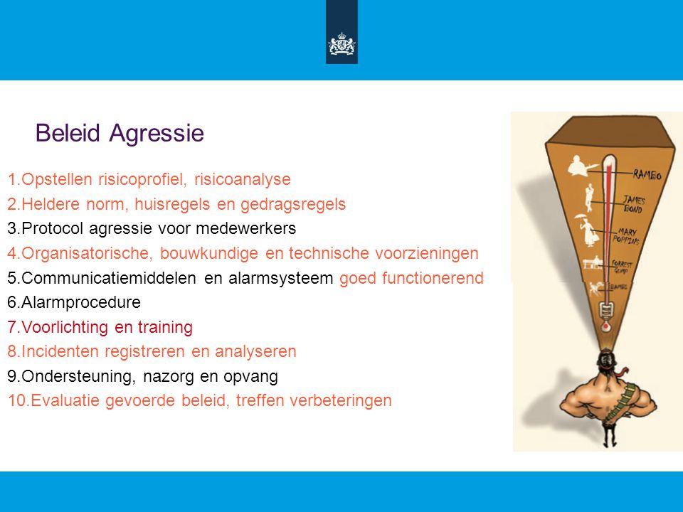 Beleid Agressie 1.Opstellen risicoprofiel, risicoanalyse 2.Heldere norm, huisregels en gedragsregels 3.Protocol agressie voor medewerkers 4.Organisatorische, bouwkundige en technische voorzieningen 5.Communicatiemiddelen en alarmsysteem goed functionerend 6.Alarmprocedure 7.Voorlichting en training 8.Incidenten registreren en analyseren 9.Ondersteuning, nazorg en opvang 10.Evaluatie gevoerde beleid, treffen verbeteringen