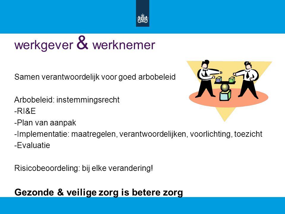werkgever & werknemer Samen verantwoordelijk voor goed arbobeleid Arbobeleid: instemmingsrecht -RI&E -Plan van aanpak -Implementatie: maatregelen, verantwoordelijken, voorlichting, toezicht -Evaluatie Risicobeoordeling: bij elke verandering.