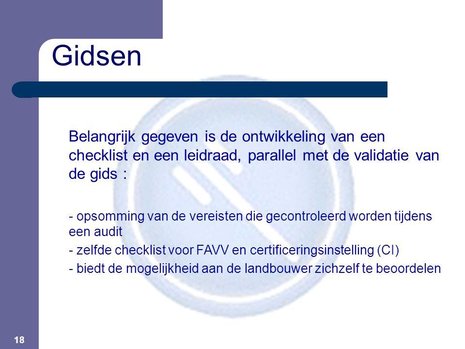 18 Belangrijk gegeven is de ontwikkeling van een checklist en een leidraad, parallel met de validatie van de gids : - opsomming van de vereisten die g