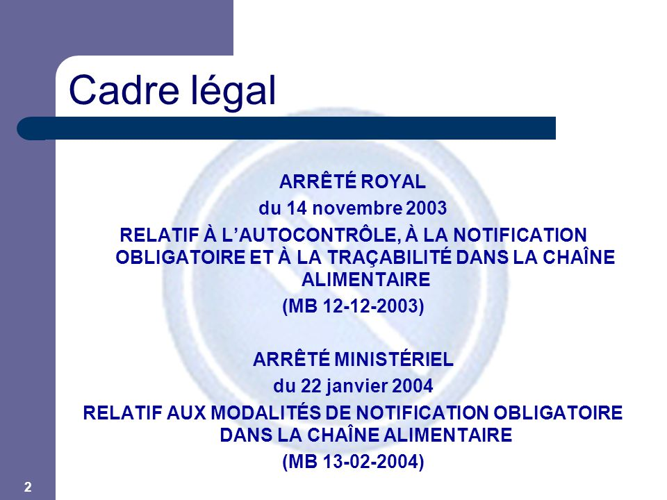 3 Délais  D'application – au 01-01-05  Autocontrôle et traçabilité – au 01-03-04  Notification obligatoire  Arrêtés en application de la General Food Law Règlement (CE) 178/2002 Principes : – Responsabilité de l'opérateur (art.