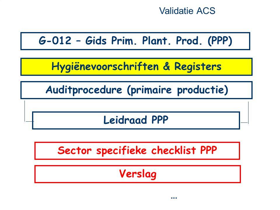 22 Auditprocedure (primaire productie) Leidraad PPP G-012 – Gids Prim. Plant. Prod. (PPP) Hygiënevoorschriften & Registers … Validatie ACS Sector spec