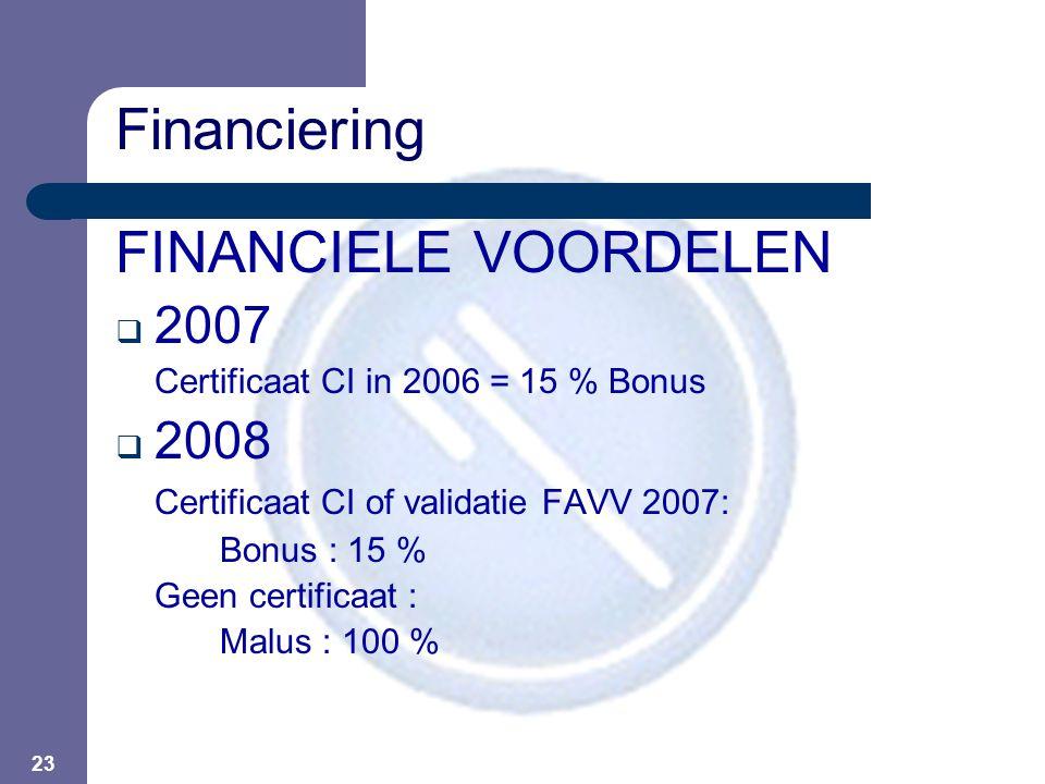 23 FINANCIELE VOORDELEN  2007 Certificaat CI in 2006 = 15 % Bonus  2008 Certificaat CI of validatie FAVV 2007: Bonus : 15 % Geen certificaat : Malus : 100 % Financiering