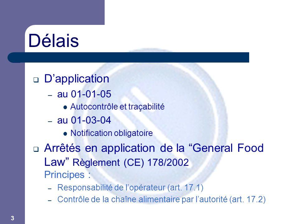 """3 Délais  D'application – au 01-01-05  Autocontrôle et traçabilité – au 01-03-04  Notification obligatoire  Arrêtés en application de la """"General"""