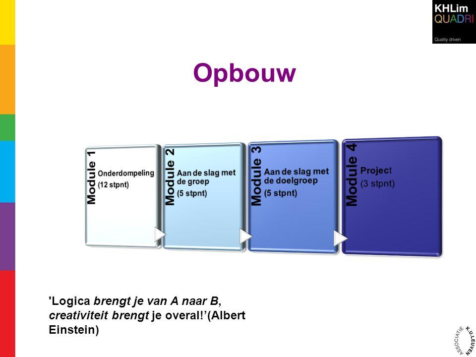 Opbouw 'Logica brengt je van A naar B, creativiteit brengt je overal!'(Albert Einstein)