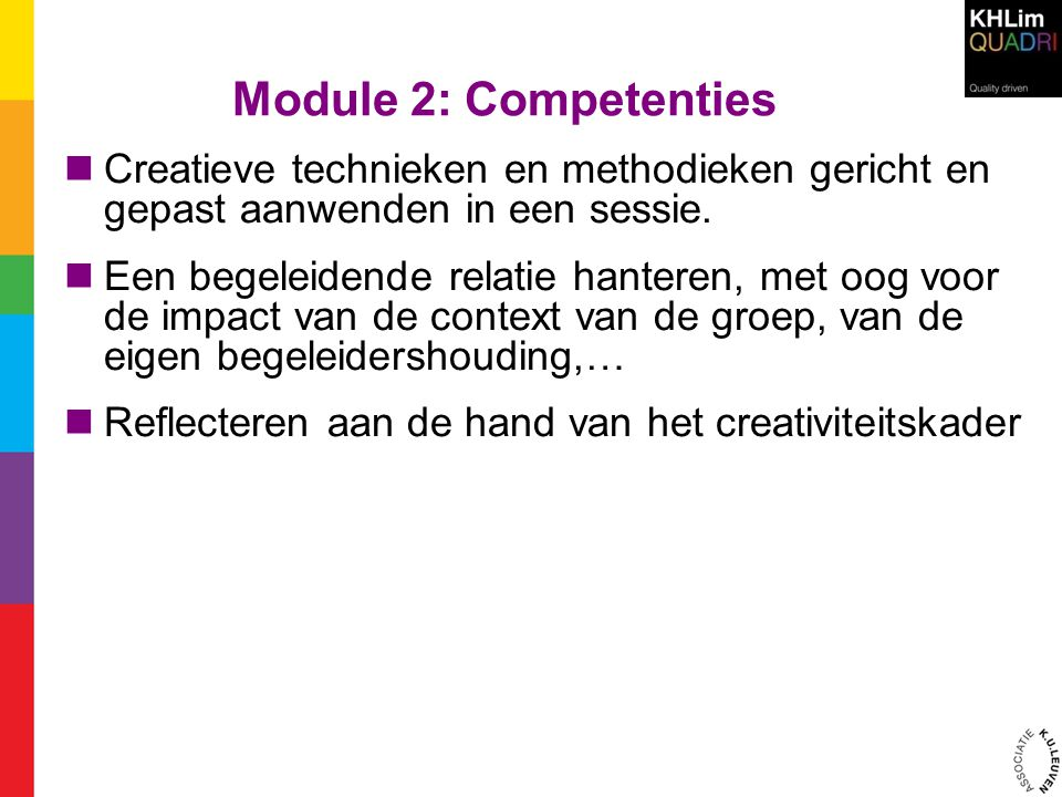 Module 2: Competenties  Creatieve technieken en methodieken gericht en gepast aanwenden in een sessie.  Een begeleidende relatie hanteren, met oog v